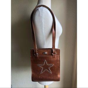 American West vintage brown leather studded bag